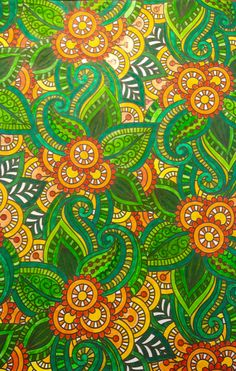 Fiji Green and orange paisley leaves and scrolls. Colouring, Adult Coloring, Coloring Books, Coloring Pages, Paisley Pattern, Paisley Print, Yellow Submarine, Pen Art, Fiji