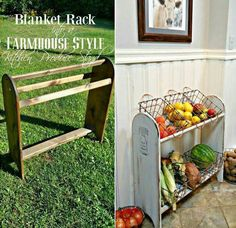 Great way to reuse a blanket rack  DIY :: http://redoityourselfinspirations.blogspot.com/2016/07/farmhouse-vegetable-stand.html