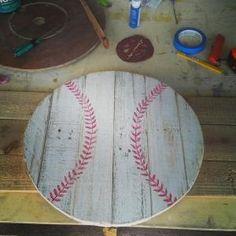 I want a softball & a baseball Pallet Crafts, Pallet Art, Wooden Crafts, Diy Crafts, Pallet Signs, Pallet Ideas, Baseball Party, Baseball Mom, Baseball Stuff