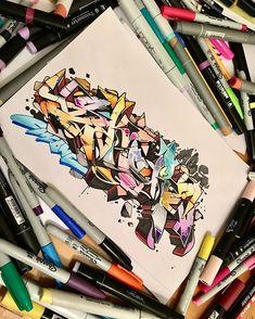 art by @ Graffiti Piece, Best Graffiti, Graffiti Artwork, Graffiti Drawing, Street Art Graffiti, Art Sketches, Art Drawings, Graffiti Wildstyle, Graffiti Lettering Alphabet