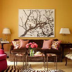 Decoração de sala de estar cores outonais