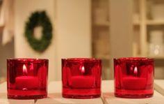 Marimekko red votives made in Finland by Iittala.