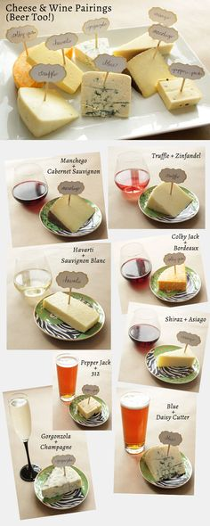 Spring Wine & Cheese Pairings (Beer too!) from Corri McFadden Wine Cheese Pairing, Wine And Cheese Party, Cheese Pairings, Wine Tasting Party, Wine Parties, Wine Pairings, Food Pairing, Beer Pairing, Fromage Cheese