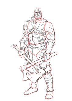 How to draw Kratos from God of War . Step by Step Tutorial - Frauen Haar Modelle Kratos God Of War, Fantasy Character, Character Concept, Character Art, Concept Art, Teaching Drawing, Drawing Practice, Templar Knight Tattoo, Power Rangers Mystic Force