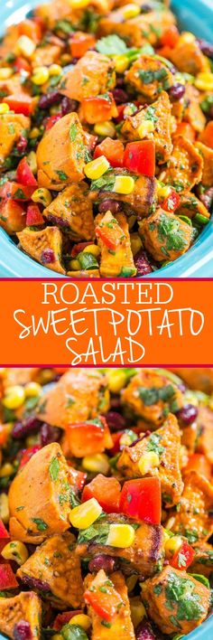 Roasted Sweet Potato Salad - Goodbye mayo - Mexican-inspired potato salad full of flavor and texture with corn, black beans, peppers, and cilantro! Salad With Sweet Potato, Sweet Potato Recipes, Veggie Recipes, Vegetarian Recipes, Cooking Recipes, Healthy Recipes, Sweet Potatoe Salad Recipe, Recipes Dinner, Pasta Recipes
