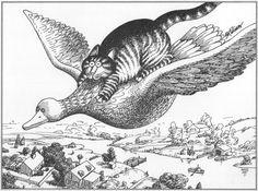 B Kliban Cat Original Vintage Art Print Wild Goose Flying Ride - Buy any 5 Prints