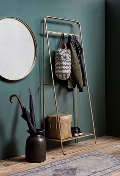 Coat Rail Rack in Brass / Gold Hallway Coat Rack, Hallway Storage, Shoe Storage Entrance Hall, Home Furniture, Furniture Design, Wooden Furniture, Lounge Design, Home And Living, Interior Inspiration