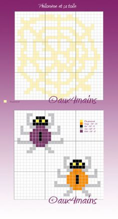 Web Spiders Halloween hama beads pattern by aux4mains