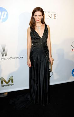 Bitsie Tulloch looked stunning as she walked the red carpet at the Weinstein Co. Annual Oscar After-Party in a elegant, embellished Max Azria Atelier design!