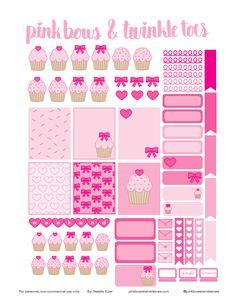 FREE Pink Cupcake Cutie Planner Stickers: Free Printable