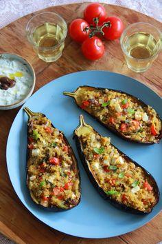 De smaak van Cécile: Met bulgur & tomaat gevulde aubergine