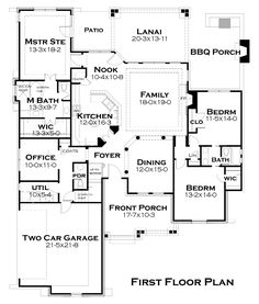 First Floor Plan of Cottage   Country   Tuscan   House Plan 65874