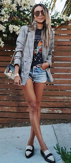 trendy outfit grey blazer + tee + bag + denim shorts + loafers