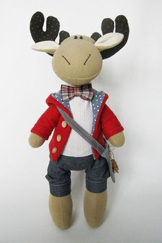 The Christmas Moose stuffed animal is very fashionable guy. If you want to make a unique Christmas gift for a friend, it is perfectly suited for