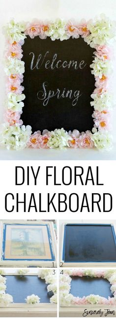 Welcome Spring DIY Floral Chalkboard Video and written tutorial!- perfect home decor project for spring! | http://www.SincerelyJean.com