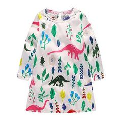 Casual Spring Girls Long Sleeve Dress Cute Dinosaur Leaves Print O-Neck Daily Warm Clothes Toddler Dress, Toddler Outfits, Baby Dress, Infant Toddler, Dinosaur Dress, Dinosaur Toys, Spring Girl, Little Girl Outfits, Everyday Dresses