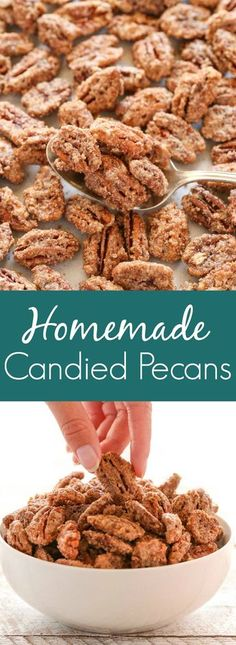 Homemade Candied Pecans Homemade Candied Pecans These candied pecans are made with just a few simple ingredients and perfect for a sweet treat or gift for friends and family! Pecan Recipes, Candy Recipes, Holiday Recipes, Snack Recipes, Dessert Recipes, Appetizer Recipes, Winter Recipes, Paleo Dessert, Dessert Ideas