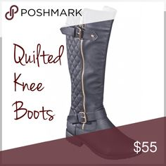 Quilted Knee Boots Trendy quilted tall shaft black boots. Features double buckle, low heel. Comes in color black to match any outfit this winter Shoes