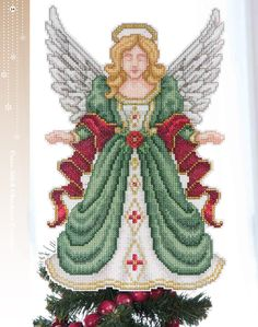 tree topper Cross Stitch Angels, Cross Stitch Tree, Counted Cross Stitch Patterns, Christmas Tree Angel, Cross Stitch Christmas Ornaments, Tree Toppers, Paper Design, Needlework, Embroidery