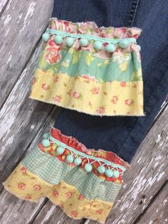 UPCYCLED RUFFLE JEAN size  7 s  Babygirlteen by TheSimpleCottageMN