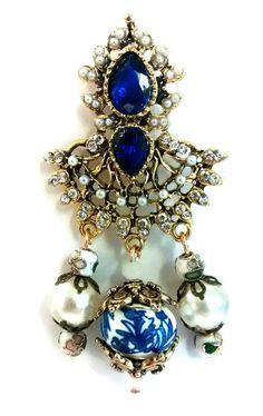 Blue medieval earrings antique pearl earrings by DareToDaret