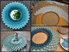 DIY mirror /art A mirror decorated with plastic spoons. Kids Crafts, Crafts To Do, Easy Crafts, Craft Projects, Projects To Try, Arts And Crafts, Craft Ideas, Plastic Spoon Mirror, Plastic Spoons