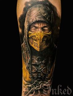 """Inspired by the ultimate brutal fighting game """"Mortal Kombat"""" this tattoo chills the blood in the veins of those who see it. Hanzo Hasashi or the Scorpion is one of the meanest heroes and vengeance will always be his! Incredible Tattoos, Great Tattoos, Unique Tattoos, Tattoos For Guys, Escorpion Mortal Kombat, Mortal Kombat Tattoo, Video Game Tattoos, Tattoo Videos, Best Sleeve Tattoos"""