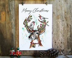 Deer Head Printable Print, Merry Christmas Deer Decor, Xmas Greeting Card, Diy Christmas Card, Creative Diy Christmas Gift, Reindeer Clipart Printable Christmas Cards, Diy Christmas Cards, Christmas Deer, Xmas Greeting Cards, Xmas Greetings, Rustic Wall Art, Rustic Wood Signs, Hummingbird Art, Deer Decor