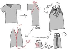 Maybe instead of cutting down the front to make a vest, make a workout-shirt?  {WobiSobi: Grey, No Sew Vest, DIY, instructions on the click-through}