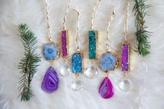 One of a kind Christmas tree jewels. Each is one of a kind and catches the light beautifully.