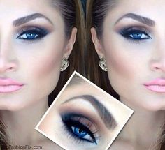 Smokey eyes for blue eyes...and my fav pink gloss color! I do live my eyes :)