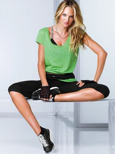 I like this workout outfit, loose top with tank or spots bra under it.