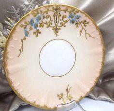 Limoges-France-Antique-Porcelain-Saucer-Plate-Hand-Painted-Gold-Trim-Pristine