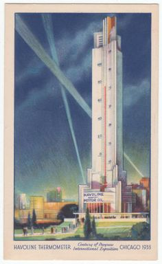 1933 Chicago World's Fair Havoline Thermometer Post Card from a lot of 3 for $20