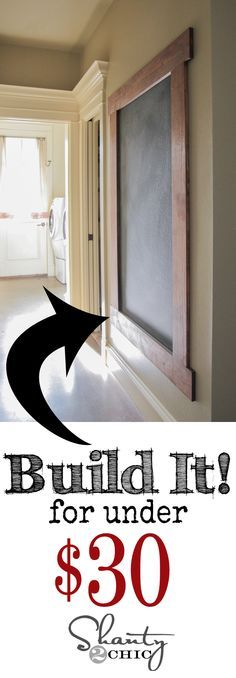 DIY Framed Chalkboard Wall! LOVE this! Cheap and easy too! http://www.shanty-2-chic.com