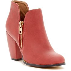 Michael Antonio Marlie Bootie ($37) ❤ liked on Polyvore featuring shoes, boots, ankle booties, ankle boots, red, red boots, gold ankle boots, chunky heel ankle boots, side zipper boots and bootie boots