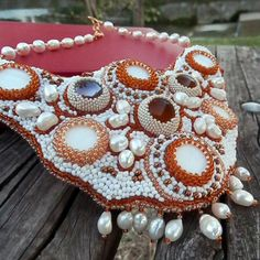 Купить Колье, браслет и серьги. Вышивка, бисер. (АРТ.30525) - белый, бисер, бисерное украшение