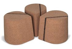Skram Cork Drop Stool -- Based in Hillsbourough, North Carolina, Skram has been producing modern furnishings for home, office, and more since 2001. Jacob Marks, a self-taught furniture maker, relays an interest in craft to mass production and gives Skram's offerings their multi-purpose functionality. As example, the Cork Drop Stool merges utility with a simple, yet differentiated look. The stool is complemented by other Skram products also of cork.