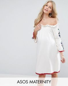 Buy it now. ASOS Maternity Off Shoulder Gypsy Sundress - White. Maternity dress by ASOS Maternity, Cotton-rich fabric, Off-shoulder design, Shirred-stretch panels, Embroidered detail, Crochet lace trims, Loose fit � falls loosely over the body, Designed to fit through all stages of pregnancy, Machine wash, 86% Cotton, 12% Polyester, 2% Elastane, Our model wears a UK 8/EU 36/US 4 and is 178cm/5'10 tall. ABOUT ASOS MATERNITY Maternity dressing gets bumped up to next-level status with the…