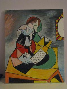 Reproduction Pablo Picasso La Lecture oil on canvas 40x50 2013