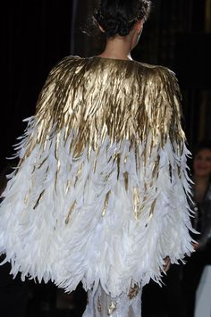 imagine waist in the gold and the skirt in feathers