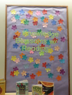 library bulletin board: Knowledge blossoms with reading