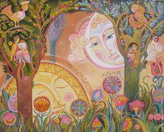Купить лето солнца и луны - разноцветный, холст, акрил, декоративная живопись, луна, солнце, лето