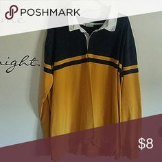 Mens rugby shirt Navy blue,mustard colored. White collar. Long sleeve. 100% cotton. Heavy weight material. Mossimo Supply Co Shirts Tees - Long Sleeve