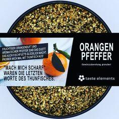 Der gelbe Ball am Himmel war heute nur selten zu sehen. Darum ist heute ein idealer Tag seine Speisen mir Orangen -duft zu verwöhnen. Probiere es mal aus! - - - #tastetheelements #orangenpfeffer #orangen #pfeffer #würzen #gewürze #gewürz #spices #kochen Orange, Kitchen Contemporary, Pepper, Heavens, Pisces