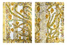 """Demeter  Diptych (I, II) Inspired by the classical myth of Demeter. Original abstract painting – contemporary art. Medium: acrylic paint on paper. Dimensions of a module: 29.53"""" x 20.67"""" Dimensions of diptych: 29.53"""" x 41.34"""" Horizontal #Greekmythology, #irenalisiewicz, #Demeter, #painting, #art,"""