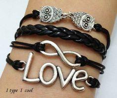 La attachment charm bracelet love infinite owl by itypeicool, $3.99