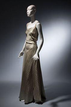 Evening dress, maker unknown. Silk and metallic twill, circa 1935, possibly New York, gift of Mrs. Jessie L. Hills