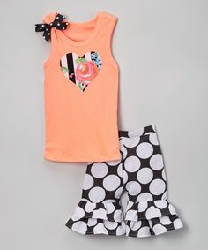 Love this Neon Orange Heart Tank & Ruffle Shorts - Infant, Toddler & Girls by Beary Basics on #zulily! #zulilyfinds