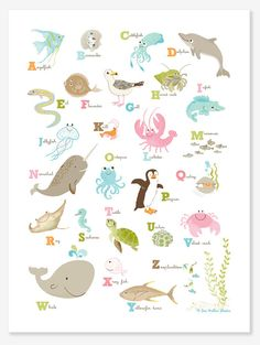 POSTER Sea & Shore Alphabet nursery art for by SeaUrchinStudio